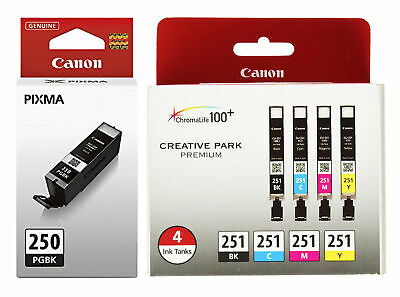 Genuine Canon PGI-250 BK CLI-251 B/C/M/Y Color Ink Cartridges-5Pack-NEW!!-Setup