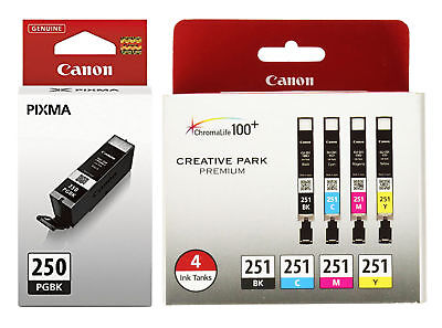 5 Genuine CANON 250/251 Ink cartridges Combo MG5420 MG5520 MG6320 MX722 MX922