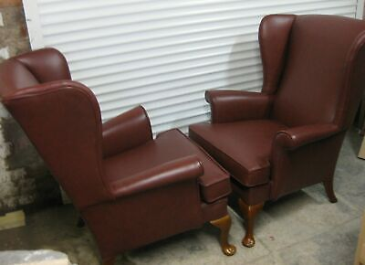 Pair of Parker Knoll Penshurst Burgundy Leather Armchairs