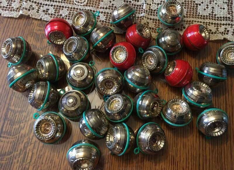 RARE VTG Lot of 32 Celluloid Indent Reflector Christmas Ornaments 1930'S-1940's