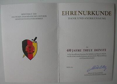 MfS - 40 JAHRE TREUE DIENSTE - Dank und Anerkennung  - Mielke-Blanco-Urkunde