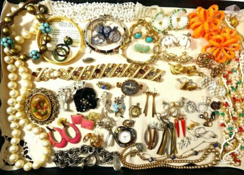 Mixed Lot 51 pc Rhinestones Crystal pearl faux Necklace earring bracelet repairs