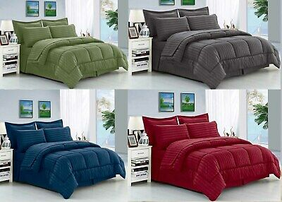 - 8 Piece Hotel Stripe Comforter Sheet Set Queen Or King Bed In A Bag