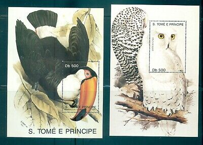 Sao. Tome & Principe - Sc# 1005-6. 1991 Birds. MNH Souv. Sheets. $23.25.