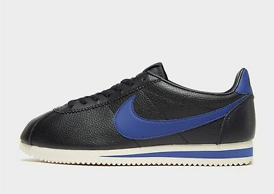 Authentic Exclusive Nike Cortez SE Leather ® (Mens Size 7-11) Black / Blue 2018