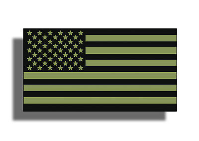 OD Green American USA Flag Sticker Decal Subdued Military Car Window Bumper ARMY ()