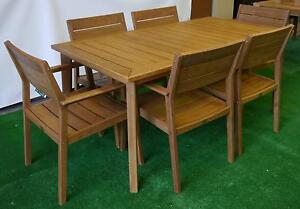 New Capri 7 Pc Timber Dining Setting Garden Outdoor Furniture Melbourne CBD Melbourne City Preview