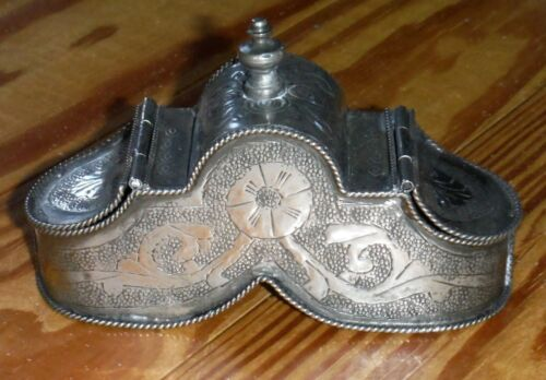 Antique Silver or Plate Chased Double Snuff Spice Box