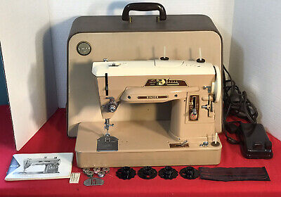 VINTAGE SINGER 403A SLANT NEEDLE SEWING MACHINE, CASE, MANUAL, EXTRAS, SERVICED