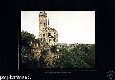 Schloss Lichtenstein XL Fotoabbildung von 1924 Schwäbische Alb Schloß