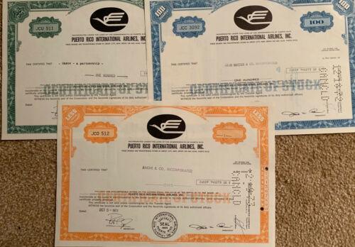 Puerto Rico International Airlines, Inc.  Set of 3 Stock Certificates. 1970s