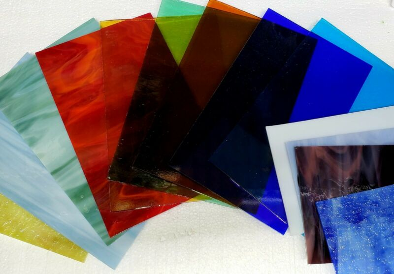 """15 Piece-Assorted Stained Glass Sheets 5"""" by 8"""""""