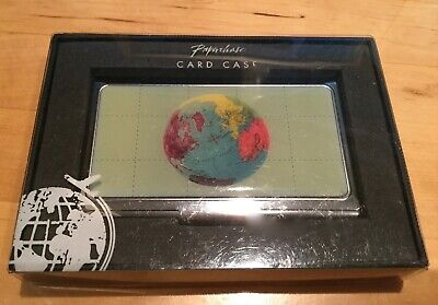 Business Card Case Globe Silvertone Design New In Box