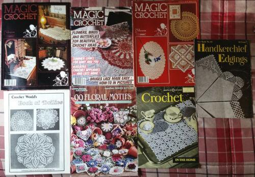 Lot of  7 VINTAGE CROCHET PATTERN BOOKS Free Shipping