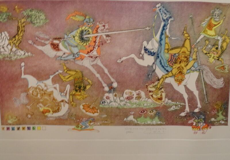 Guillermo Silva Guerreros Medievales Original Etching