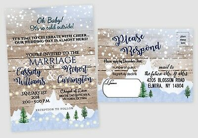 Rustic Winter Wedding Invitations Christmas Invites Tree Country Wedding Qty 50 - Tree Wedding Invitations
