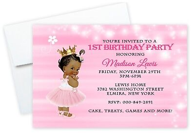 Custom Personalized First Birthday Invitations Princess SKINCOLOR CAN BE CHANGED