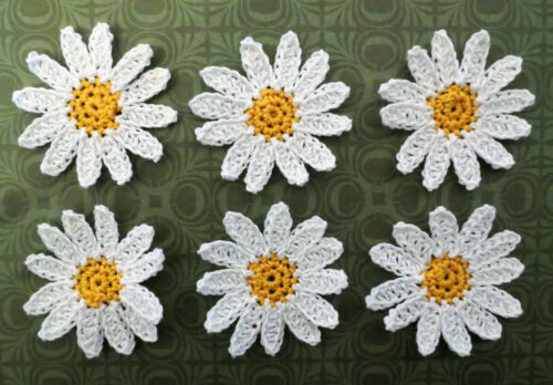 Crochet Flower Small Daisy Applique Embellishment Yellow White 6 Pcs