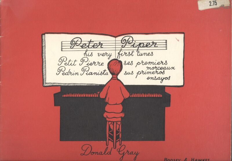 Vintage 1935 Donald Gray Peter Piper First Piano Tunes English/French/Spanish