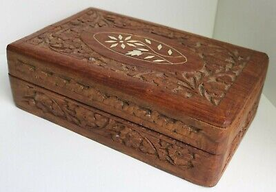 VINTAGE CARVED WOODEN BOX / JEWELLERY TRINKET ANTIQUE CHEST I& NLAID TOP / 21
