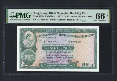 Hong Kong 10 Dollars 1-3-1979 P182h Uncirculated Repeater Serial Number Grade 66