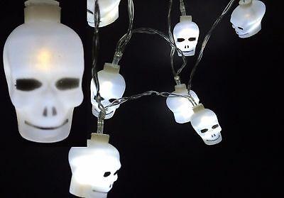 Batteriebetriebene Halloween-lichter (12er LED Totenkopf  Halloween Lichterkette Dekoration Batteriebetrieben Weiss)