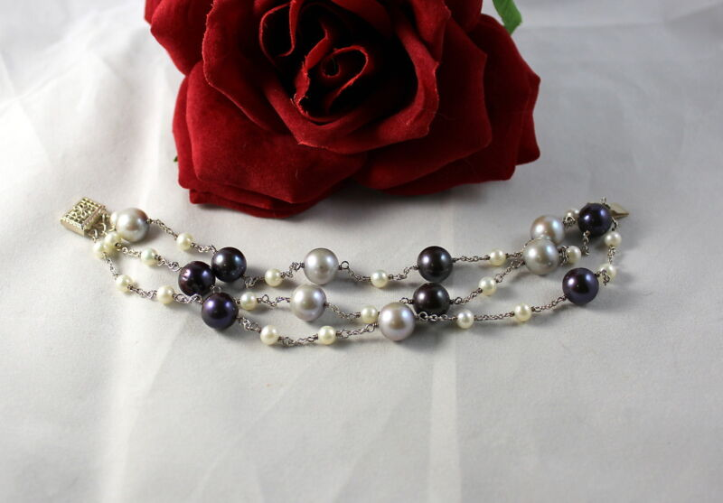 Gorgeous 3 Strand FAux Pearl Beaded  Bracelet CAT RESCUE