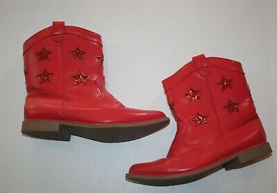 USED Gymboree Girls 2 Youth Red Cowboy Boots Glitter Stars Low Heel No flaws