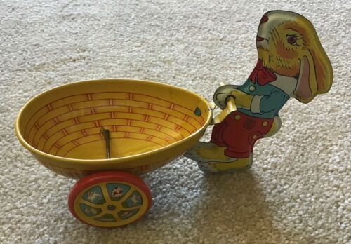 Vintage J Chein Yellow Bunny Rabbit W/ Easter Egg Cart Tin Litho Candy Container
