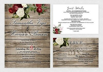 Wedding Invitations Rustic Theme Bridal Shower Elegant Floral Custom Qty 50](Rustic Bridal Shower Invitations)