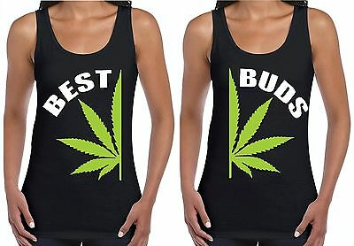 Best Buds Pot Leaf Couples Women's Tank Top Marijuana Weed Kush Stoner Black