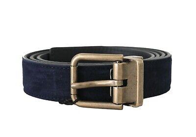 NEW $350 DOLCE & GABBANA Belt Blue Goatskin Suede Gold Buckle Mens 85cm / 34in