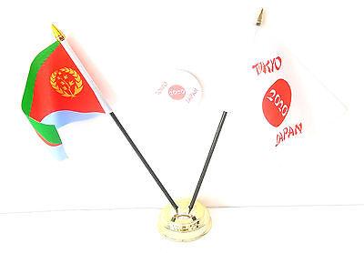 Eritrea & Tokyo Japan Olympics 2020 Desk Flags & 59mm BadgeSet