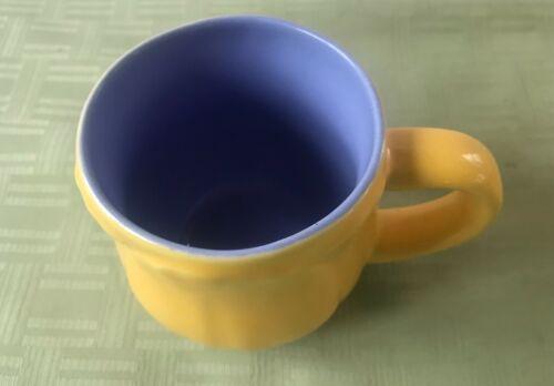 Vintage Hallmark Tulip Shape Coffee Tea Mug Yellow Outside Purple inside