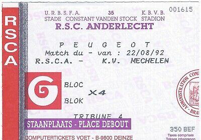 Ticket: Anderlecht - Mechelen KV (FC Malines) Championnat (22-8-92)