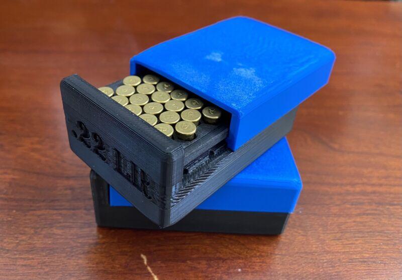 50 round 22 lr. ammo case Blue Lid