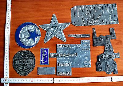 Druckplatten Klischees Bleisatz Druckstock 9 stück konvolut