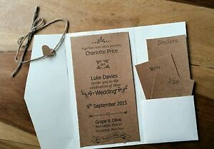 Shabby Chic Personalised Wedding Invitations Vintage RSVP Stationery Hessian
