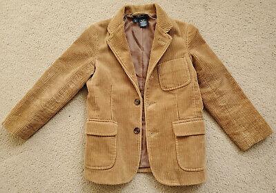 🔥 VTG Boy's POLO RALPH LAUREN Sz 6Corduroy Blazer Sport Jacket Coat Tan Brown
