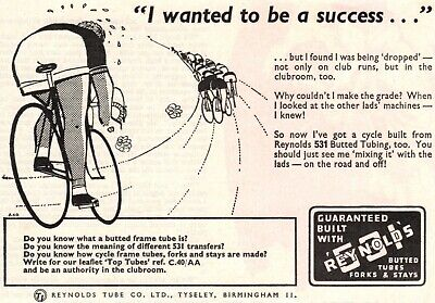 Vintage Reynolds 531 Butted Cycle Tube Advert - Original 1964