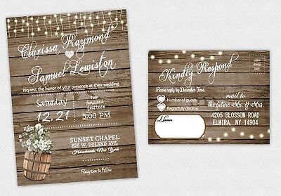 75 Rustic Wedding Invitations with RSVP Post Cards Wood Look Country Invites](Post Wedding Invitations)