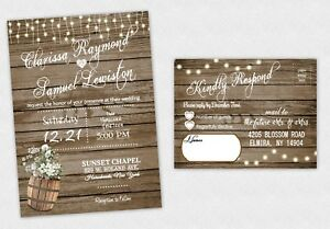 Wedding Invitations Country Bridal Shower Rustic Invite RSVP Response QTY 50