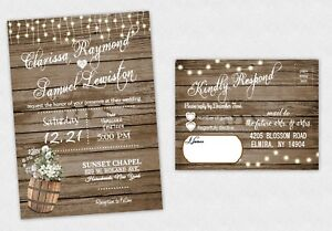 Wedding Invitations Country Bridal Shower Rustic Invite & RSVP Response QTY 50