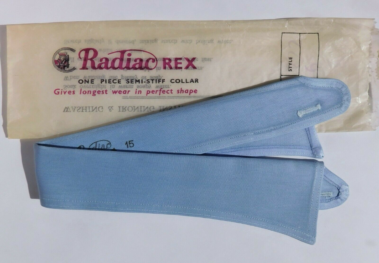 Blue Radiac Rex vintage shirt collar size 15 UNUSED detachable semi stiff
