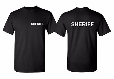 SHERIFF T Shirt Cop Double Sided Police Duty T-Shirt Easy Halloween Costume Tee](Cop Shirt)