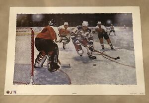 """Autographed Brian Leetch painting print 24""""x36"""""""