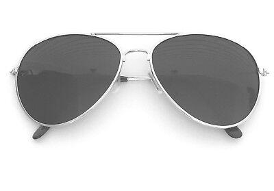 New Shades Sunglasses Silver Classic Gafas de Sol Hot Top Gun Pilot Cop Costume