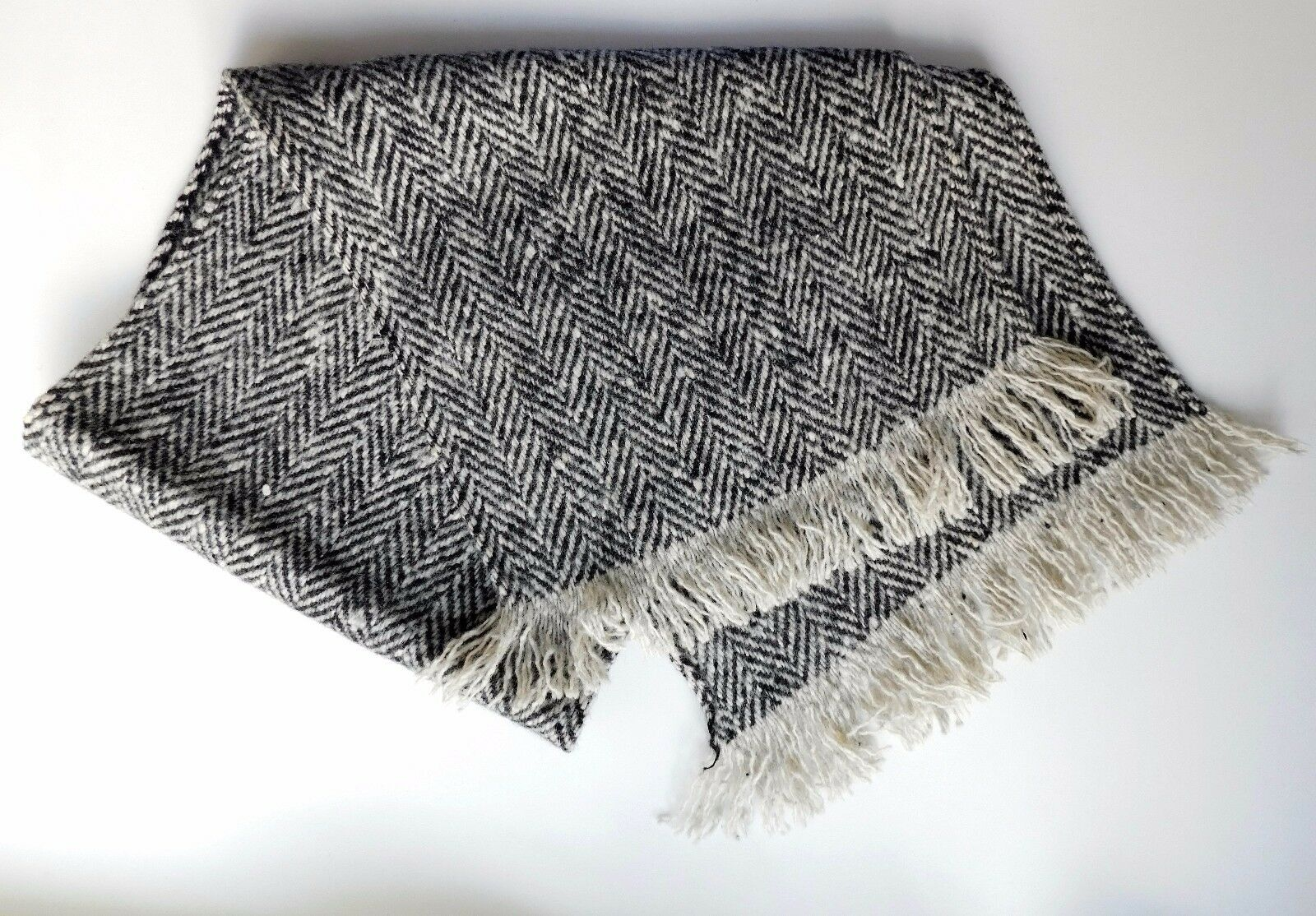 Vintage black and white tweed scarf fringed wool traditional herringbone pattern