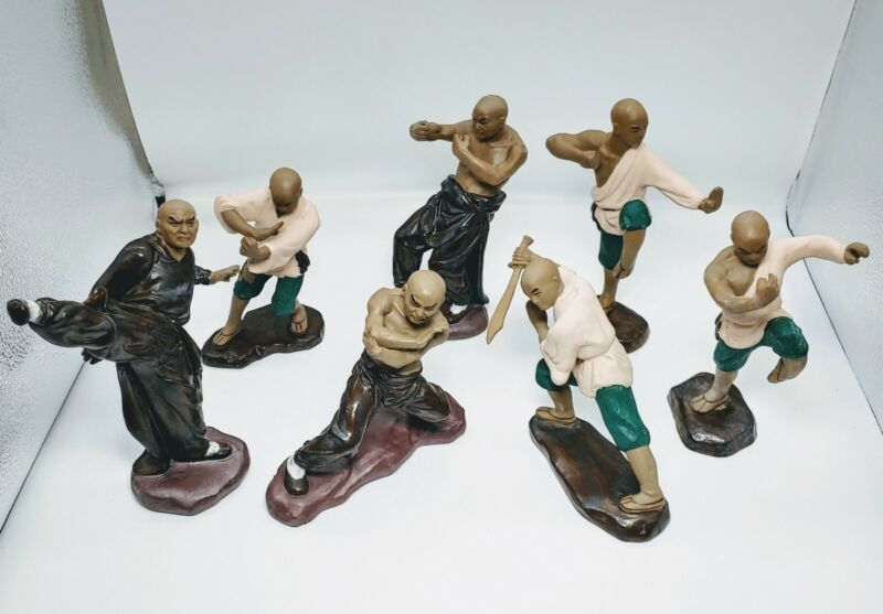 Vintage Chinese Mud Man Figurines of Marshall Artist kung fu. 7 pieces. C1