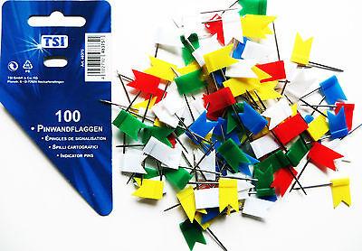 100 Markierungsfähnchen Nadeln bunt Pinnwandnadeln Pinnwandfähnchen TSI Pinnadel